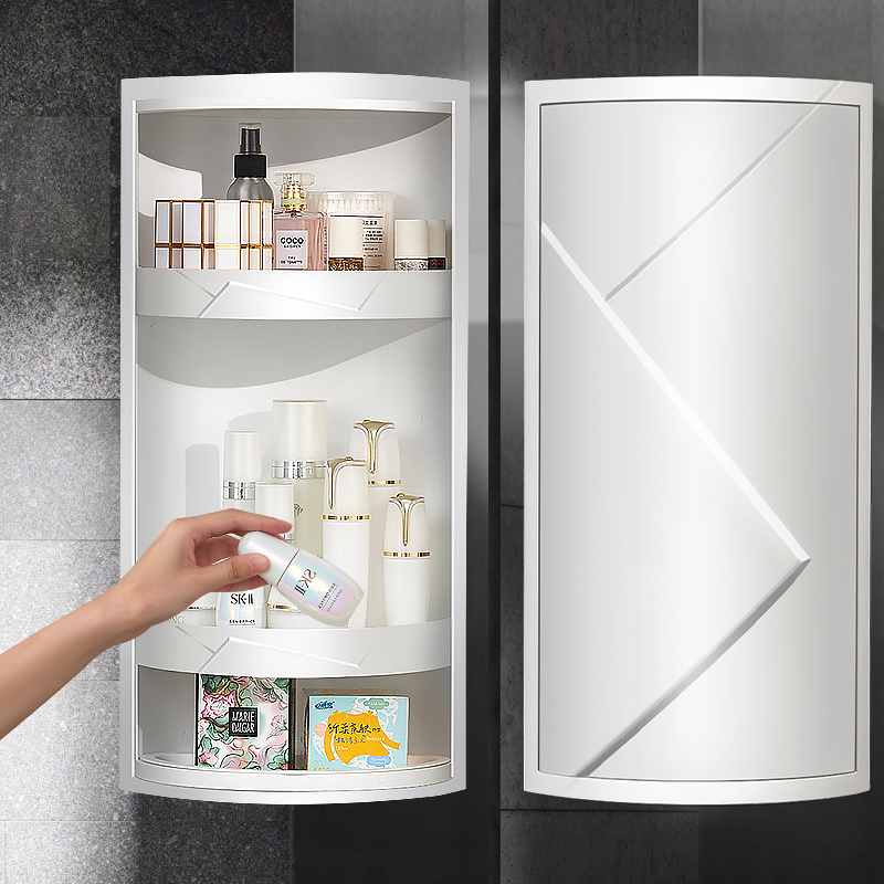 Bathroom racks,rotating corner cabinet white storage racks, Makeup organizer box kitchen and toilet storage