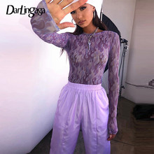 Darlingaga Harajuku Purple Flame Fire Gedrukt Mesh Top Tshirt Transparante Sexy Zomer Crop Tops Tees See Through Vrouwelijke T-shirt(China)