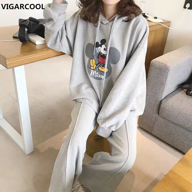 Autumn And Winter Women's Suit Cartoon Mickey Print Hooded Sweater Suit Sports Wind Jacket + Loose Casual Pants Two-piece Women