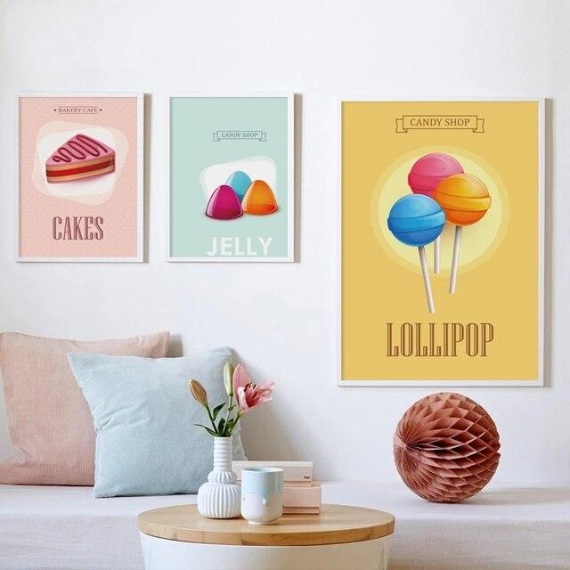 Фото плакат с изображением вкусной еды сладких макарон леденцов обои
