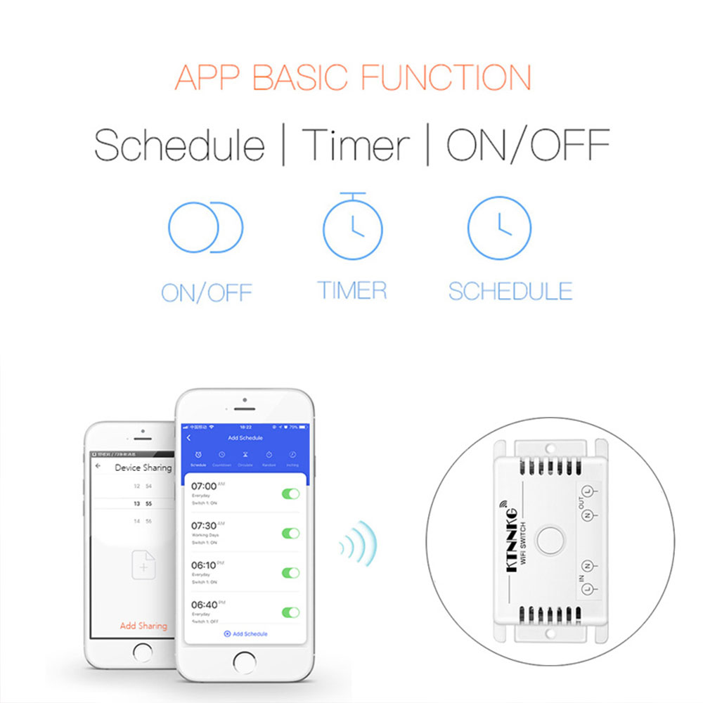 TUYA app 110V 220V wireless universal WIFI or remote control switch, timing, voice control, with wall-mounted 200M RF