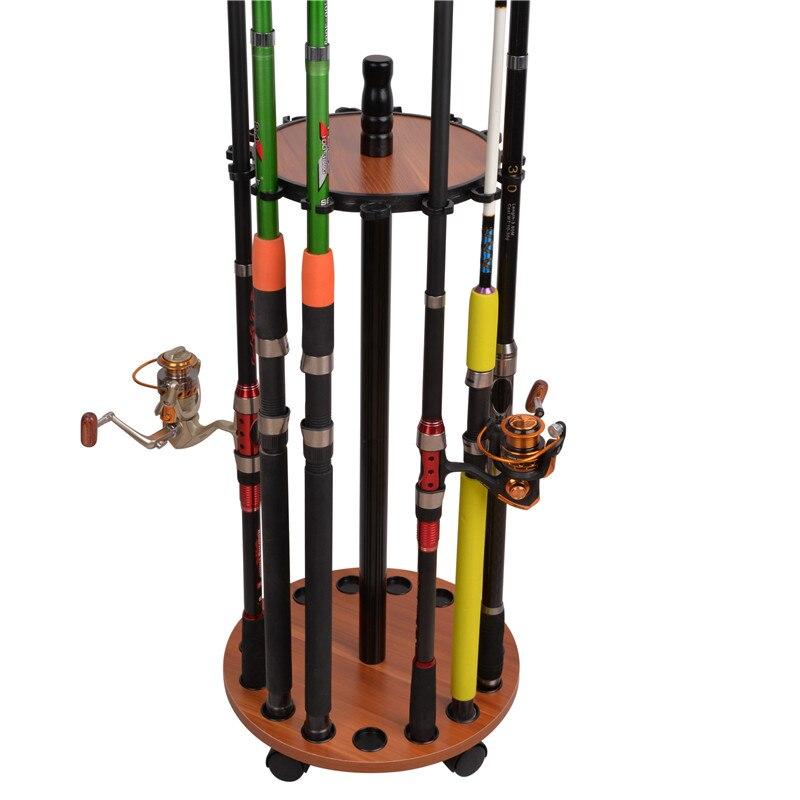 Placa mdf vara de pesca redonda 15 vara de pesca rack de armazenamento para barco exibir suporte da haste com rodas universais enfrentar