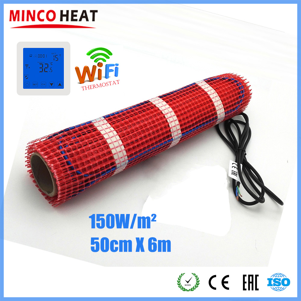 Minco Heat 6m X 50cm Fluoropolymer Insulated Heating Cable Mat For Underfloor Warming, Snow Melting 230V 150W/sqm