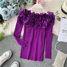 autumn solid color slim chic slash neck long sleeve fungus ruffle petal appliques knit bottoming t shirt top frilled tie neck petal sleeve top