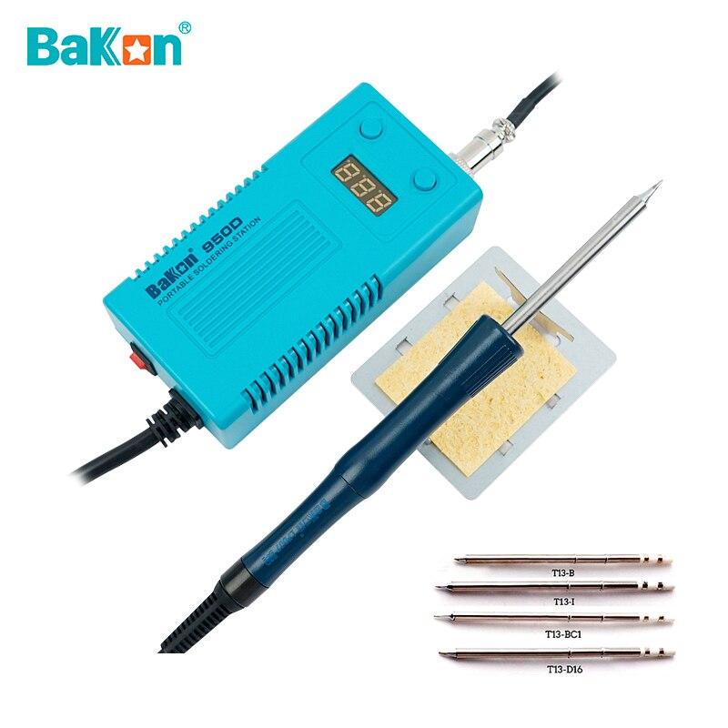 Портативная паяльная станция BAKON 950D, Электрический паяльник 75 Вт с регулируемой температурой и наконечником для припоя T13, инструмент для св...