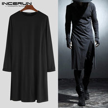 Men Long Sleeve Irregular Shirt Oversize Loose Black White Shirt Male Streetwear Gothic Punk Stage Show Long Shirts 5XL INCERUN(China)