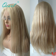 Transparent Clear Full Lace Wig Light Blonde Straight Human Hair Wigs Pre Plucked Hairline Free Part Remy Hair 130% 150% Qearl