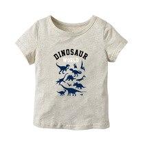Детская футболка с короткими рукавами из чистого хлопка, летняя футболка с короткими рукавами и рисунком динозавра для маленьких мальчиков