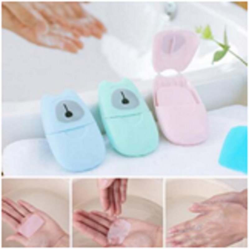 50Pcs Disinfectant Soap Paper Washing Hand Bath Clean Scented Slice Sheets Disposable Box Soap Portable Mini Paper Soap 3colors