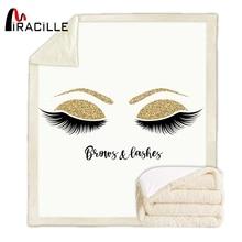 Miracille, милое одеяло с ресницами, шерпа, флис, для девочек, плюшевое одеяло, модное, белое, золотое, на диване, микрофибра, Манта