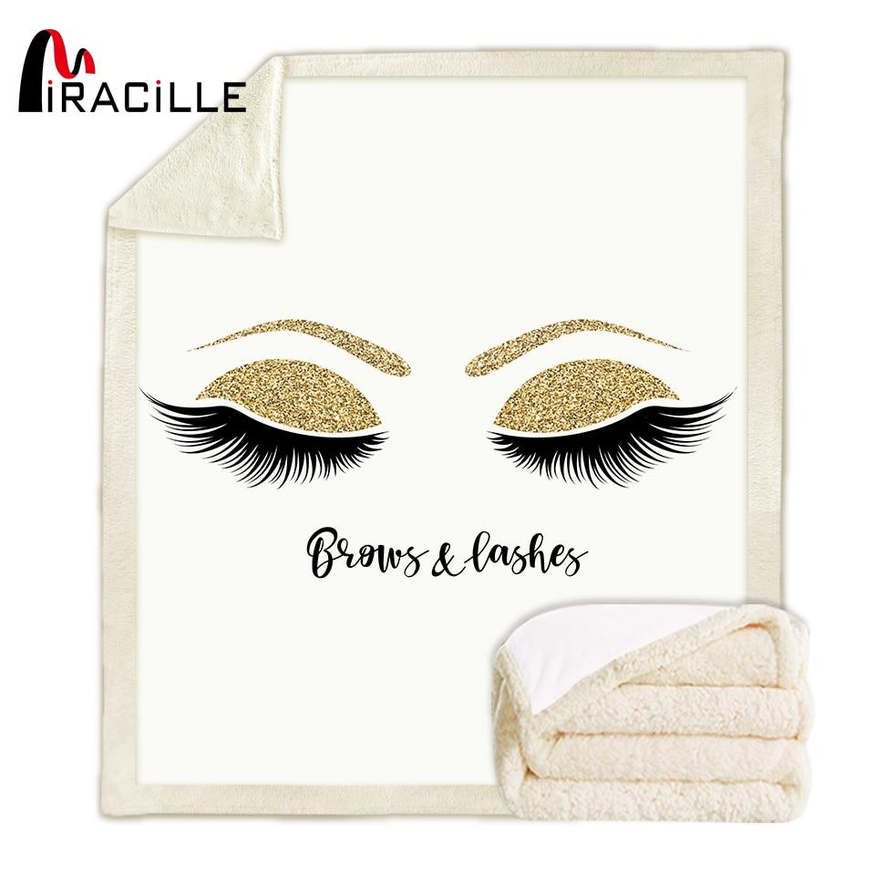 Miracille Lovely Eyelash Blanket Sherpa Fleece Girls Plush Blanket Fashion White Gold Couch Microfiber Manta
