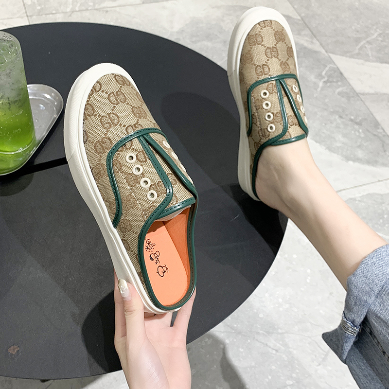 Slippers female summer wear 2020 new women's casual lazy shoes printed Baotou half slippers one pedal wild female slippers <font><b>D518</b></font> image