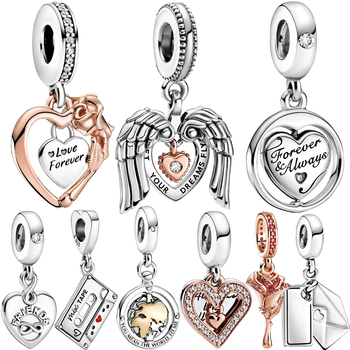 NEW 925 Sterling Silver Beads 2021 Valentine's Day Heart Of Love Charms Fit Original Pandora Bracelets Women DIY Jewelry Gift 2019 autumn new 925 sterling silver beads auntie love heart charms fit original pandora bracelets diy jewelry for women