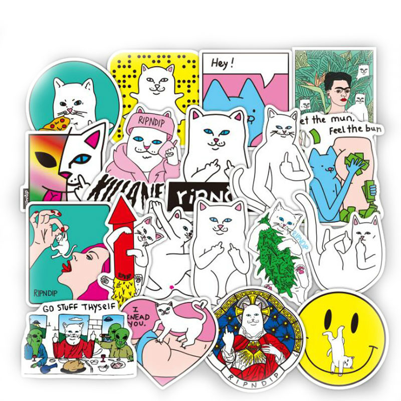 50pcs/lot Funny Ripndipe Sticker Creative Personality Waterproof Rip N Dip Laptop Sticker For Finger Skateboard Car Styling