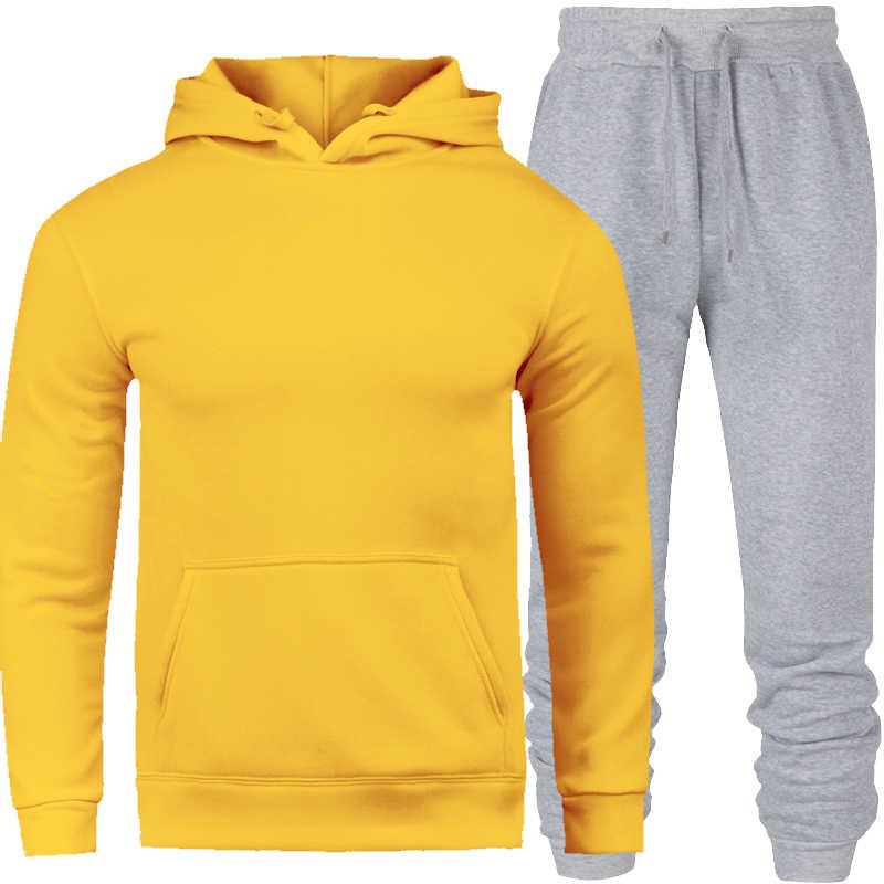 Осенне-зимние мужские флисовые толстовки 2019, повседневные теплые толстовки с капюшоном, мужской утепленный спортивный костюм из 2 предметов, куртка + штаны, мужская спортивная одежда