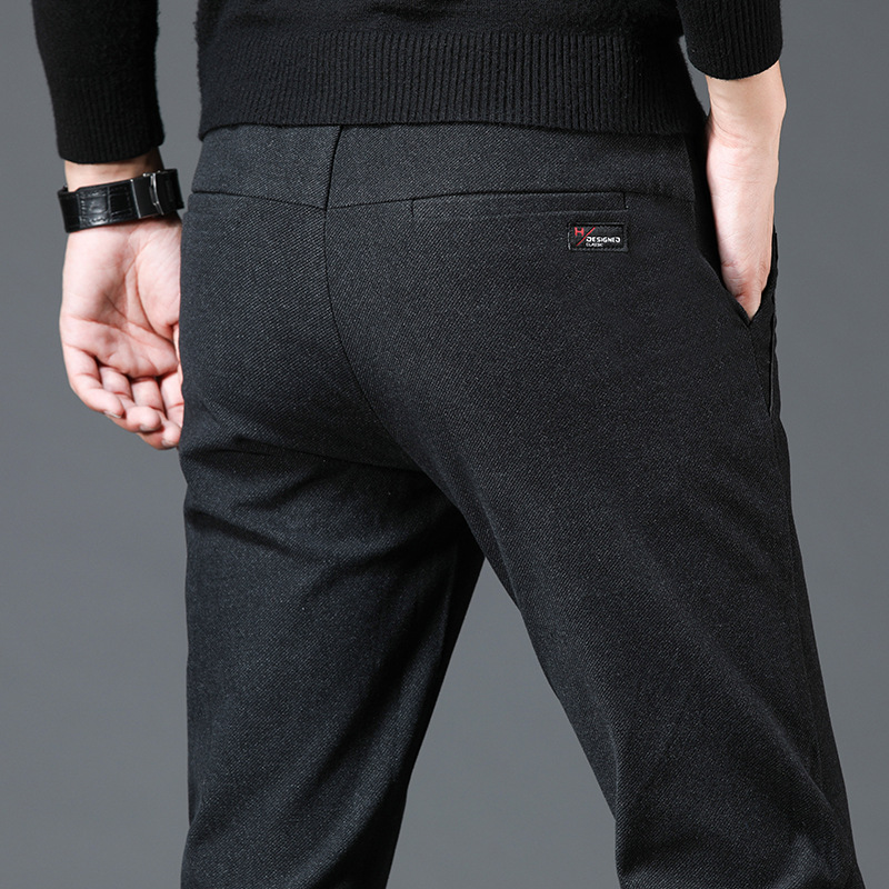 New Style 2019 Autumn And Winter Korean-style Brushed Elasticity Men's Business Casual Pants Trousers Hose Pants Urban Fashion P