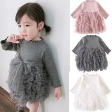 2020 Spring Baby dress Princess Girl Long sleeve Mesh Knit