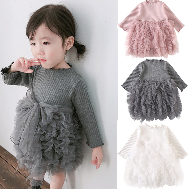 Baby dress Princess Girl wear Long sleeve Knit Dress for 0-6 year birthday party Toddler Costume autumn  for Infant vestidos