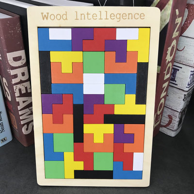 Colorful Wooden Tangram Brain Teaser Puzzle Toys Tetris Game Preschool Magination Intellectual Educational Kid Toy