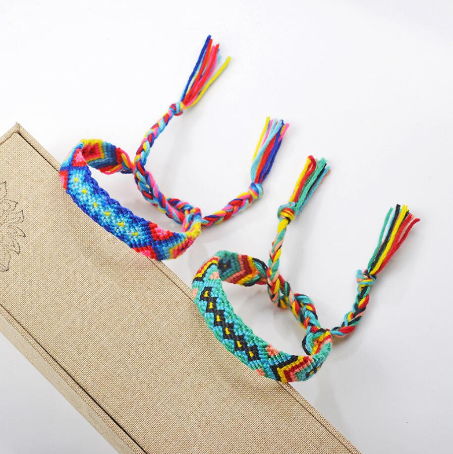 New Hot Bohemian Thread Bracelet Retro Handmade Boho Multicolor String Cord Woven Braided Hippie Friendship Bracelets Women Men