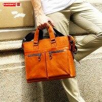 New Genuine Leather Men's Handbag Business Men Briefcases 14 Inch Document Laptop Bag Male Shoulder Messenger Bags Fashion Soft