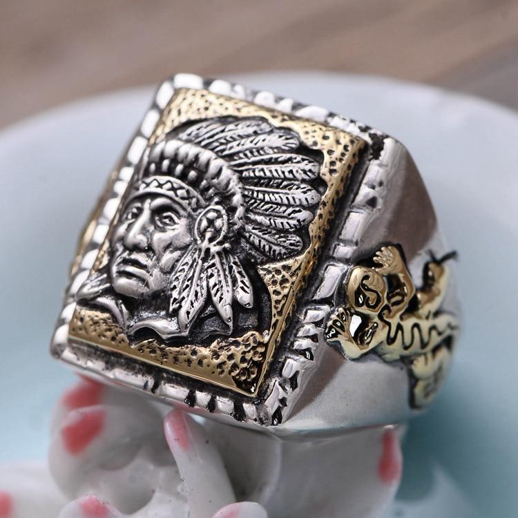 Bague pour hommes indiens en argent S925, anneau réglable d'ouverture de la tête du vieux chef, anneau de tête des peuples autochtones