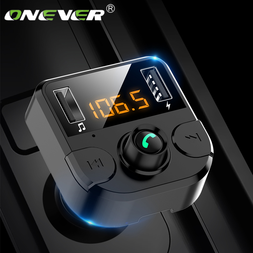 Onever Car <font><b>Fm</b></font> <font><b>Transmitter</b></font> <font><b>LCD</b></font> <font><b>MP3</b></font> <font><b>Player</b></font> Wireless <font><b>Bluetooth</b></font> Receiving Car Kit 4.6A fast USB Hands Free USB Charger <font><b>FM</b></font> Modulator image