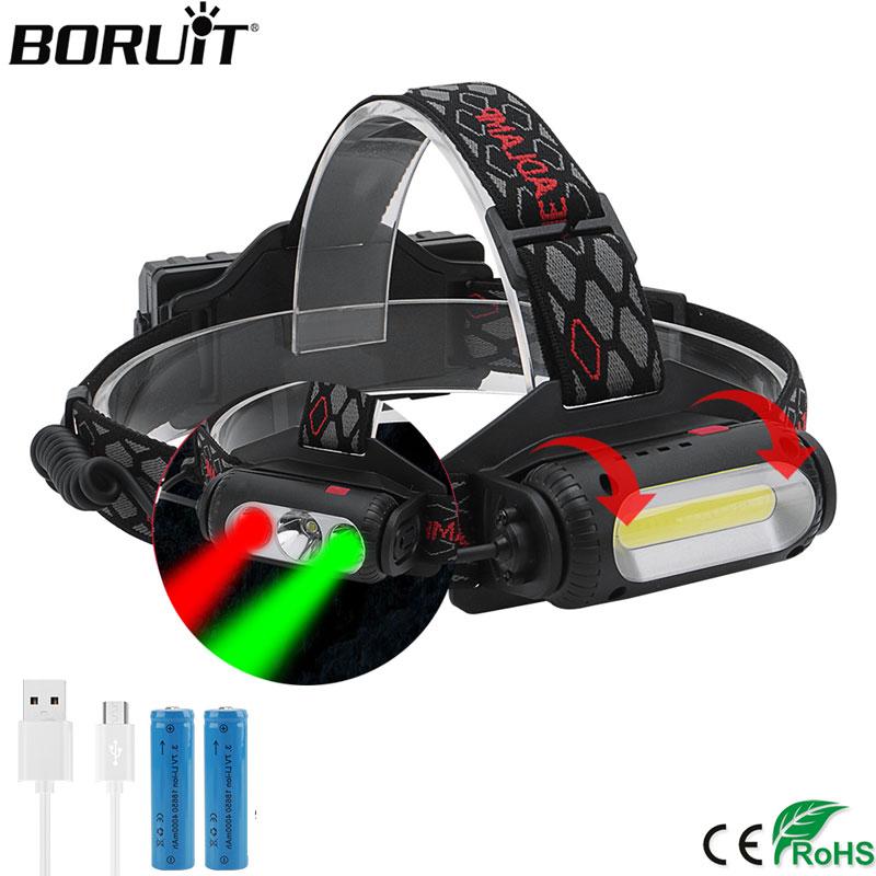 BORUIT COB T6 LED Headlamp XPE Green Red Light Headlight 8  Mode USB Charger 18650 Head Torch Camping Hunting Frontal Lantern|Headlamps|   - AliExpress