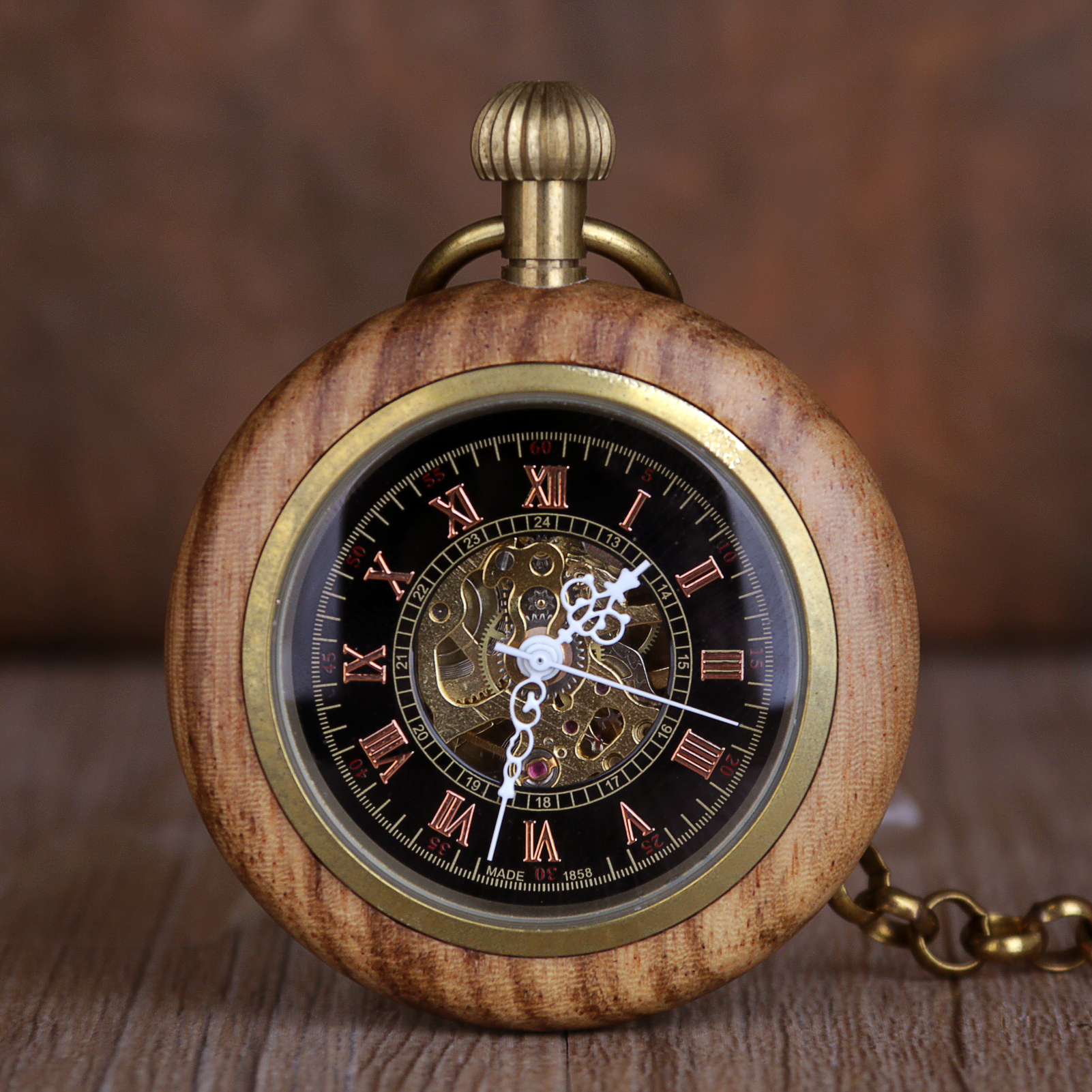 New Pocket Watch Solid Wood Mechanical Pocket Watch FOB Chain Hollow Steampunk Skeleton Men Women Male Clock Watches Gifts