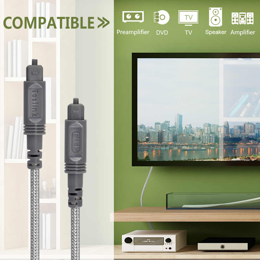 Digital Optical Audio Cable Toslink Fiber 5.1 7.1 Cable TV Optical SPDIF 1m 2m 3m 5m 10m 15m OD4.0 Speaker Amplifier DVD PS4