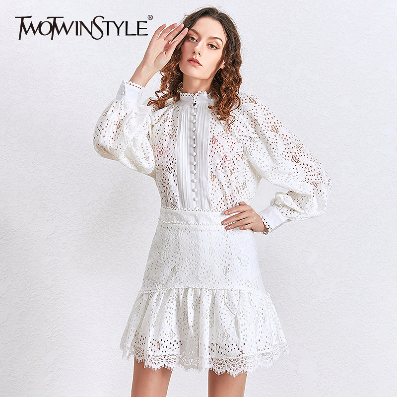 TWOTWINSTYLE Sexy Hollow Out Shirt Skirt Two Piece Sets Female Lantern Sleeve Blouse Tops Women Patchwork Lace Mini Skirt Suits