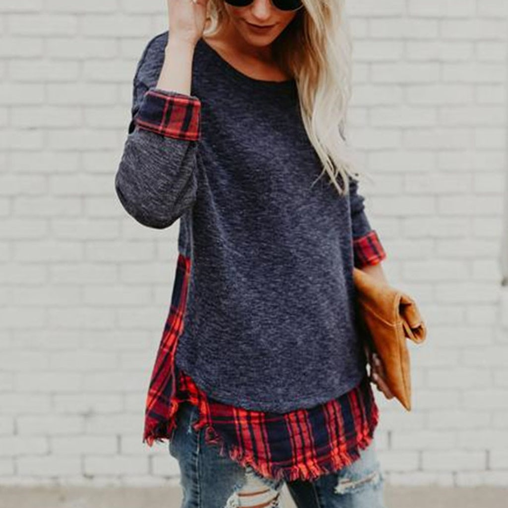 Sweater Women Pullover Sweaters autumn Patchwork O-neck Plaid Korean Style Women Sweters Women Invierno 2020 oversized sweater