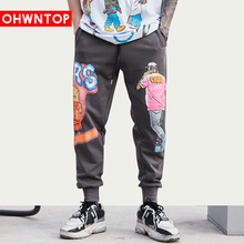 Hip Hop Fashion Cartoon character Print Pants Streetwear Casual Sweatpants 2020 Harajuku Joggers Men Rock Hipster Trousers Black