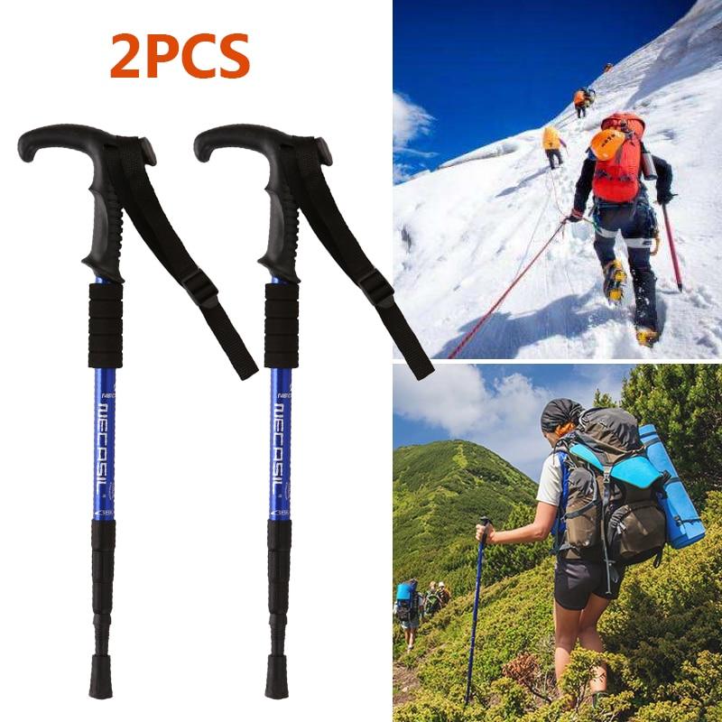 Trekking poles hike walking stick nordic walking cane Aluminum ski camp telescopic baton outdoor hiking poles crutches Ski pole