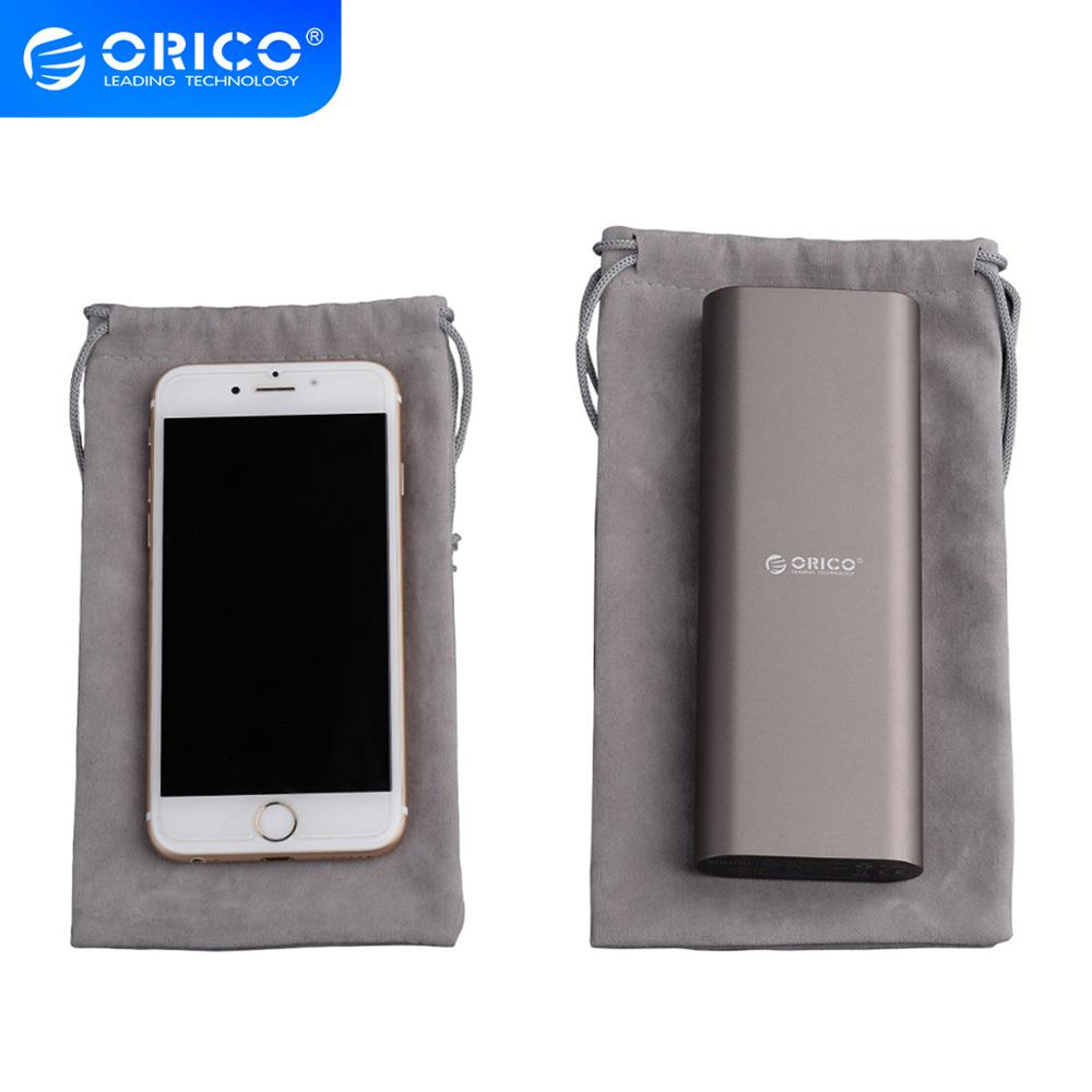 ORICO Phone Storage Velvet Bag Storage For USB Charger/USB Cable/Power Bank/Phone And More Gray Color