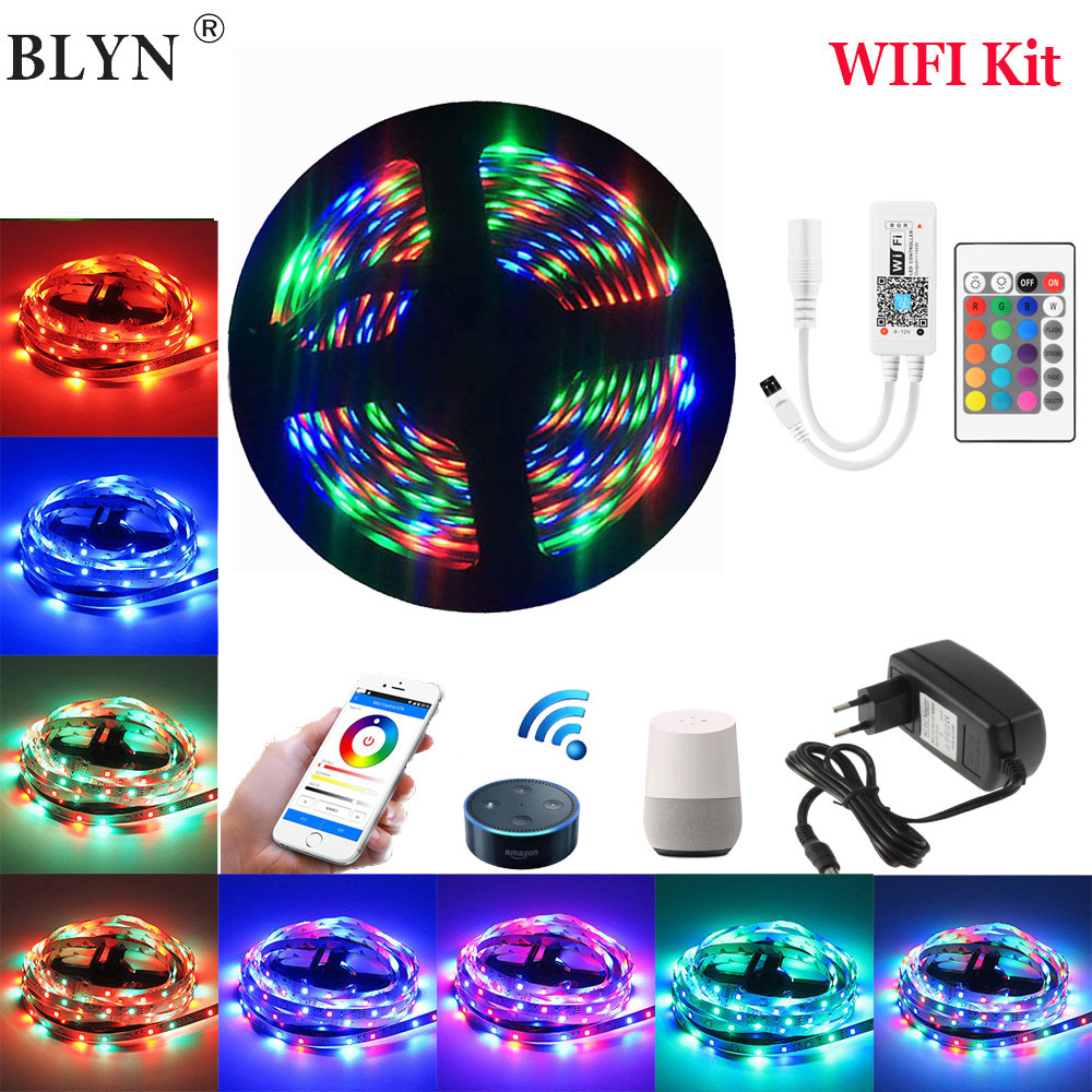 WIFI RGB LED Strip Flexible LED Fita Waterproof Diode Tape 10M 5M 15M Work With Goolge Home Alexa LED WIFI Controller Adapter