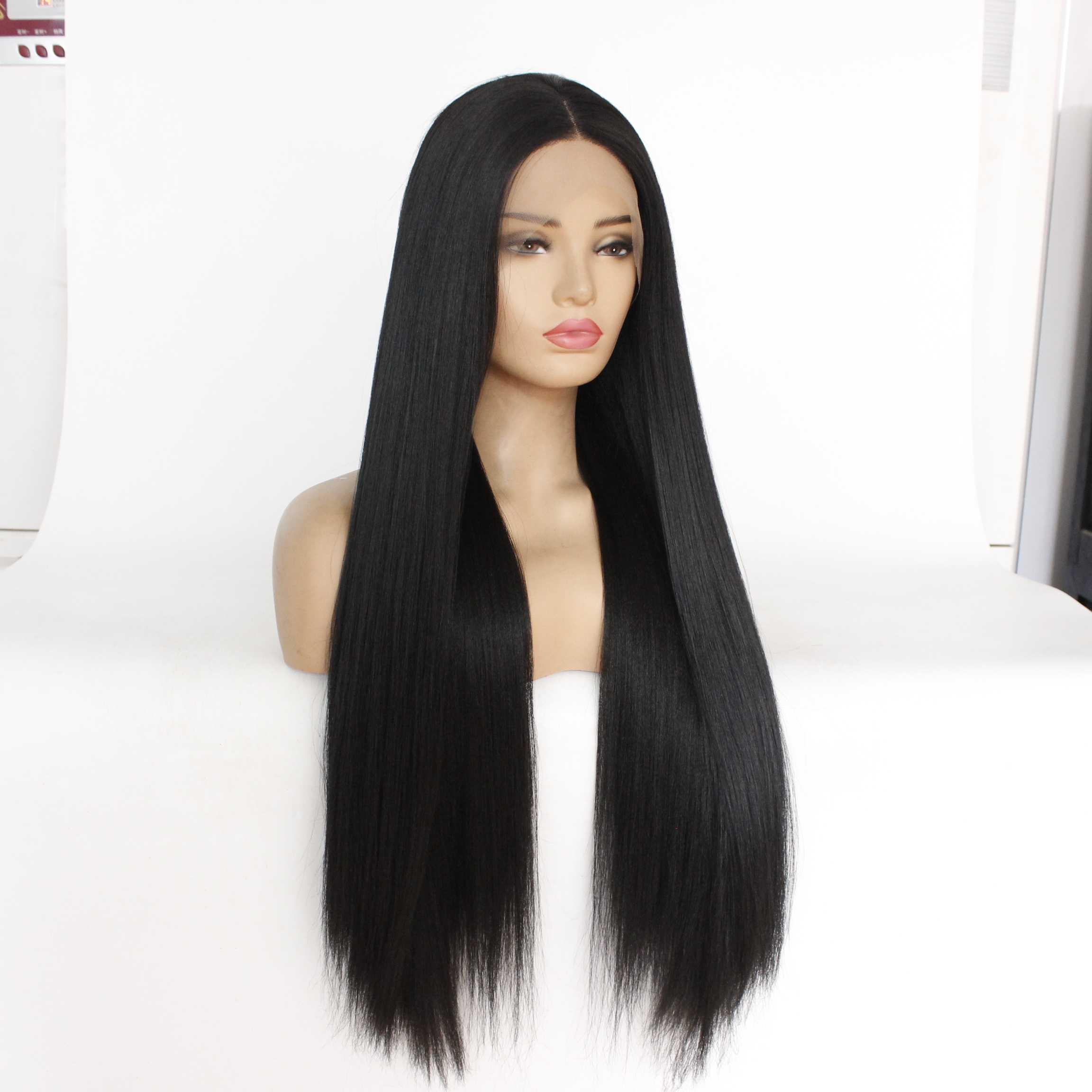 MRWIG طويل ياكي مستقيم الاصطناعية الدانتيل شعر مستعار أمامي منتصف جزء غلويليس ألياف مقاومة للحرارة سيدة نساء 150% الكثافة