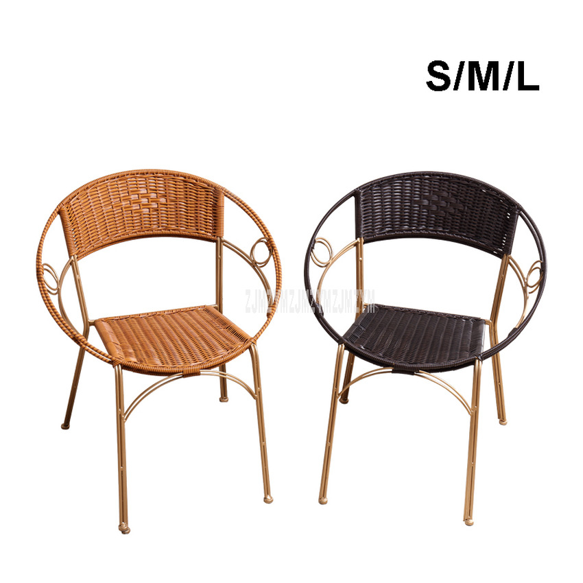 1Set of 2pcs Rattan Chair Simple Home Balcony PE Rattan Weave Metal Frame Leisure Chair With Backrest For Student/Children S/M/L