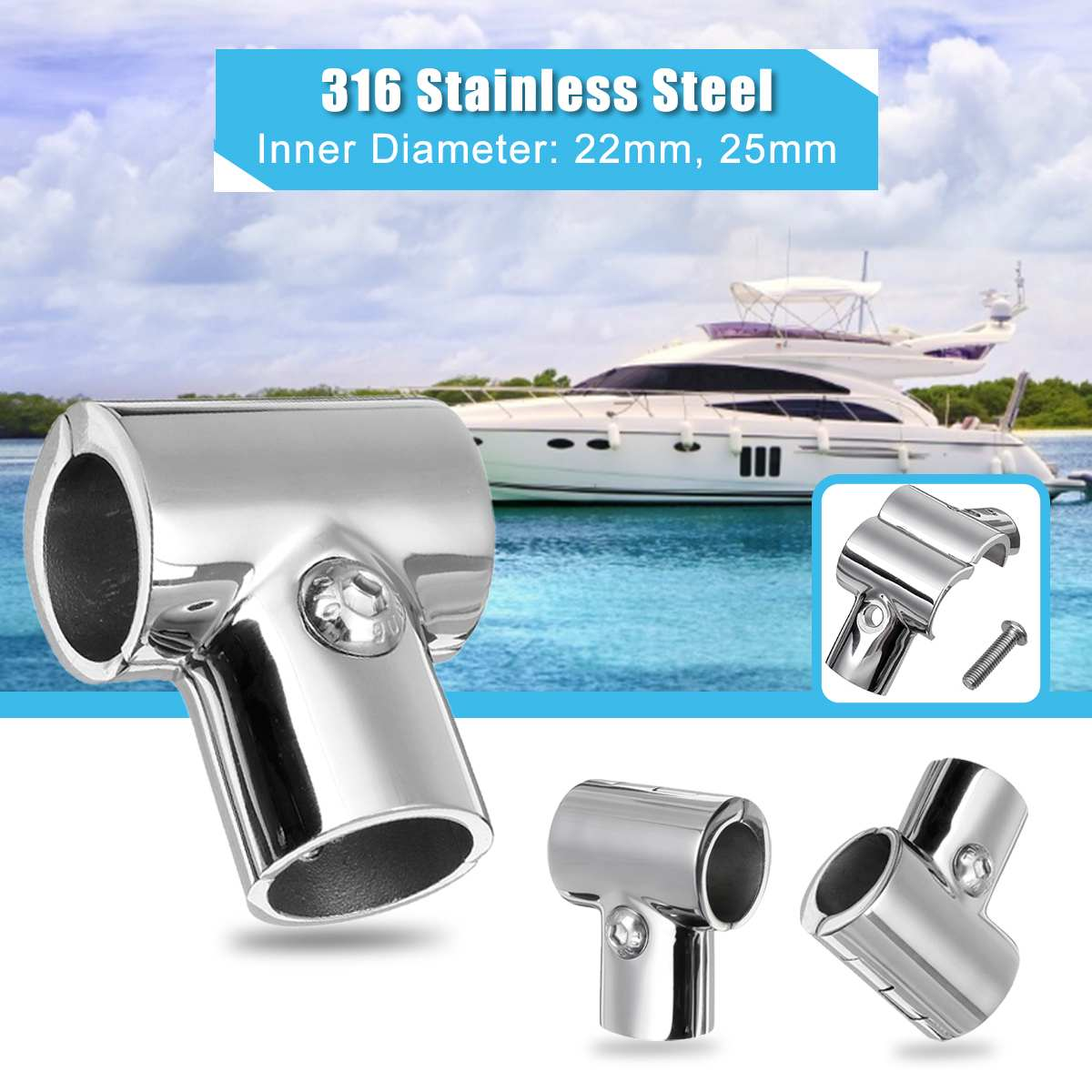 Boat Pipe Connectors 22mm 25mm Marine Yacht Railing Handrail 316 Stainless Steel Pipe Tube Connector Clamp Marine Hardware