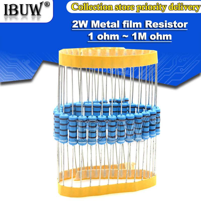 20 Buah 2W Resistor Film Logam 1% 1R ~ 1M 2.2R 4.7R 10R 22R 47R 100R 220R 470R 1K 10K 100K 2.2 4.7 10 22 47 100 220 470 Ohm