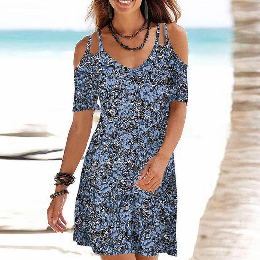 2021 Woman Summer Dress Sundress Boho Print Dresses For Women Beach Dress Casual Short Sleeve Office Lady Party Vestidos 12