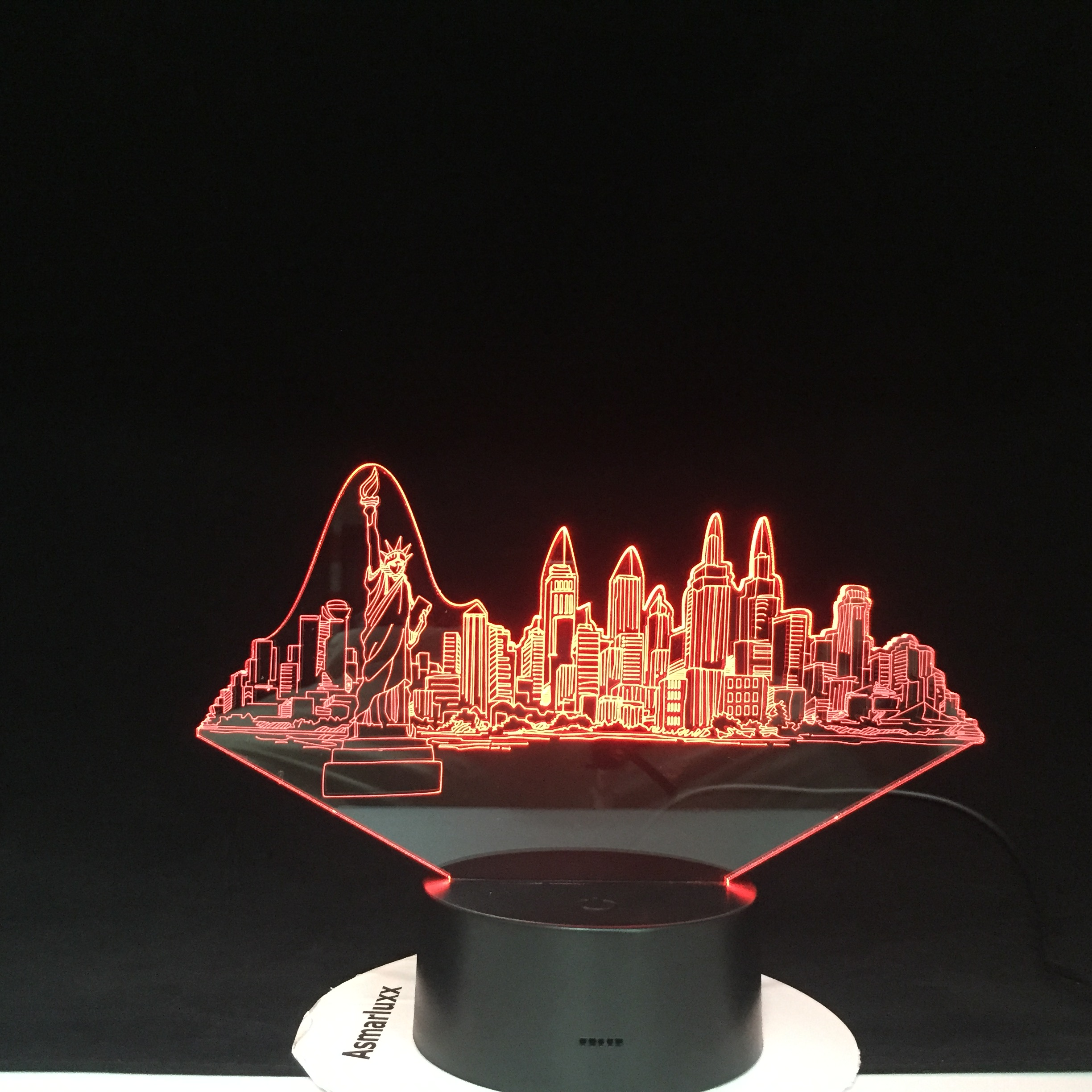 New York City Buildings Modelling 3D Led Usb 7 Color Changing Novelty Touch Button Desk Table Lamp Atmosphere Night Light Gifts