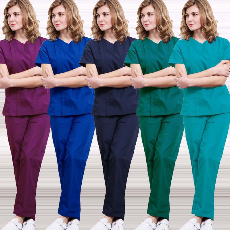 Medical Uniforms Women Zipper Opening Scrub Top Cotton Short Sleeve Doctor Nurse SPA Clothing Elastic Waistline Drawstring Pants