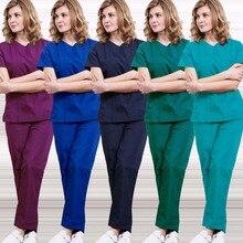 Medical Uniforms Women Zipper Opening Scrub Top Cotton Short Sleeve Doctor Nurse SPA Clothing Elastic Waistline Drawstring Pants