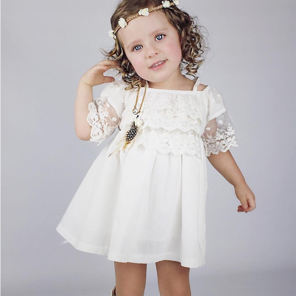 Lovely Solid Color Off-shoulder One Piece Dress Above Knee Short-sleeved Dress With Lace Stitching Decor For Baby Girls