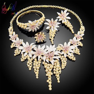 Image 2 - Yulaili New Hot African Female Costume Jewellery Gold Color Necklace Earrings Nigeria Wedding Jewelry Sets for Women Wholesale