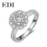 EDI Classic Halo 14K 585 White Gold Moissanites Diamond Wedding Rings For Women Engagement Bands Fine Jewelry