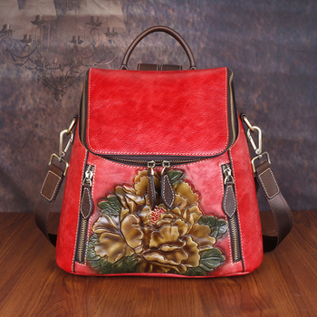 Women Backpack Genuine Leather Flower Pattern Real Cowhide Rucksack Female 3 Use Vintage Shoulder Bag Daypack Travel Knapsack
