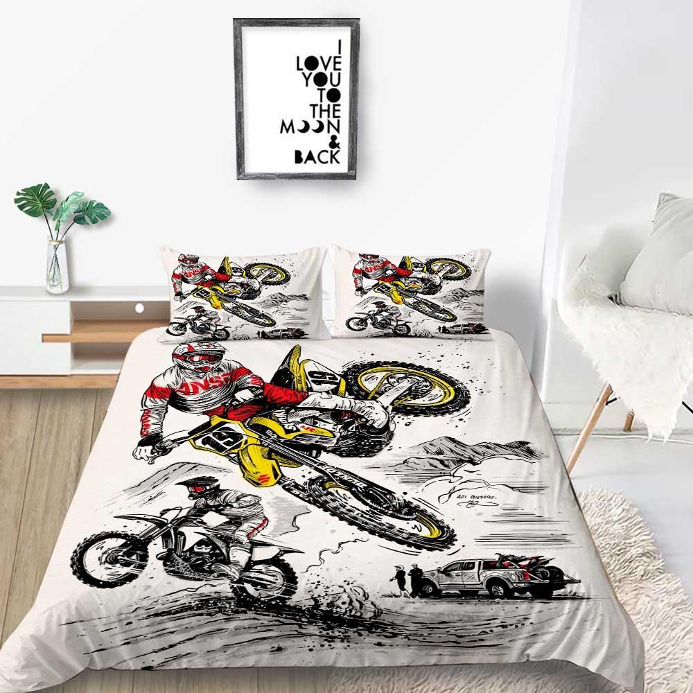 Мотоциклетный Комплект постельного белья, модный художественный Комплект постельного белья королевского размера с пододеяльником для мал...