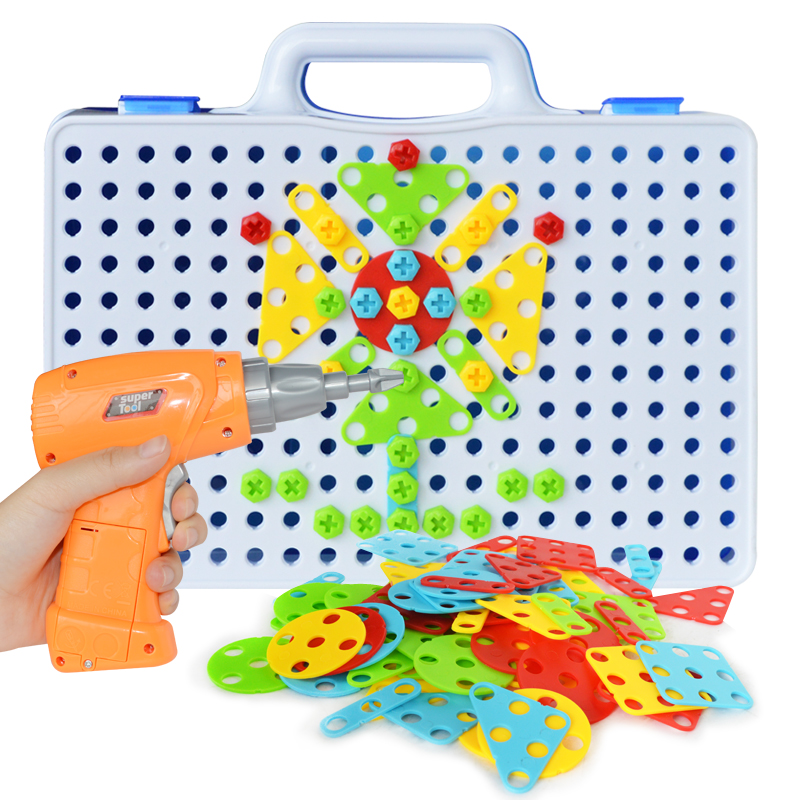 Brinquedo infantil de furadeira elétrica, criativo, mosaico,